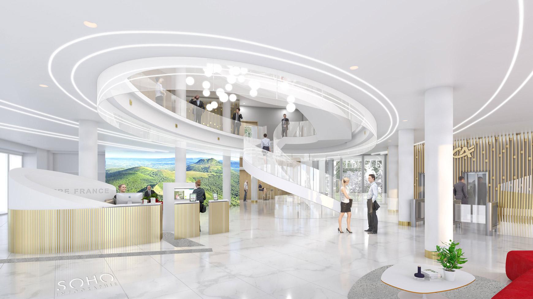 Réhabilitation lourde du siège sociale du Crédit Agricole Centre France à Clermont-Ferrand, labélisé BREEAM EXCELLENT, réalisé par le pôle Tertiaire de l'agence d'architecture SOHO ATLAS IN FINE LYON. Perspective, vue intérieure sur l'atrium.