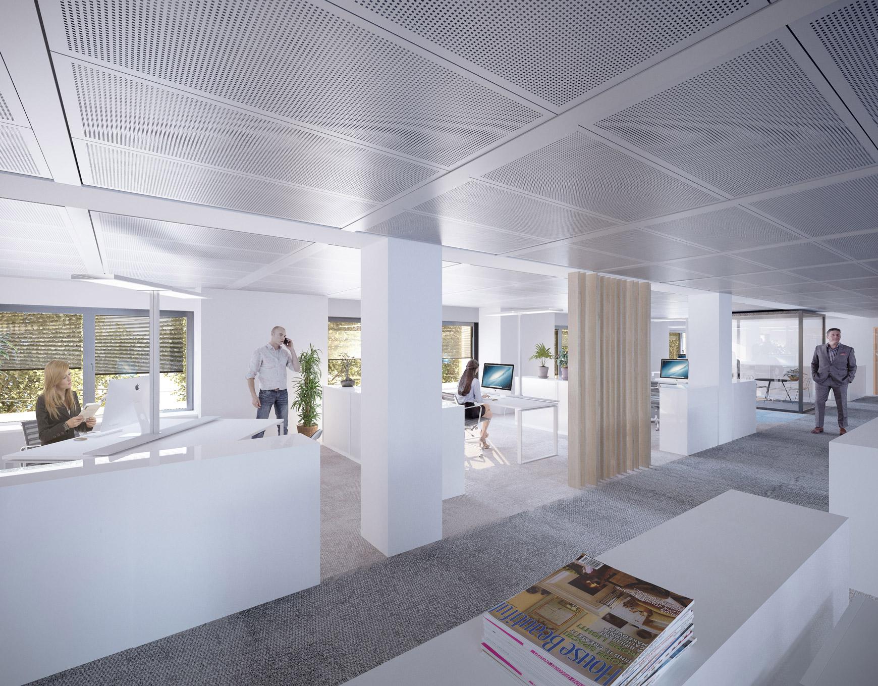 Réhabilitation lourde du siège sociale du Crédit Agricole Centre France à Clermont-Ferrand, labélisé BREEAM EXCELLENT, réalisé par le pôle Tertiaire de l'agence d'architecture SOHO ATLAS IN FINE LYON. Perspective, vue intérieure d'un plateau de bureaux.