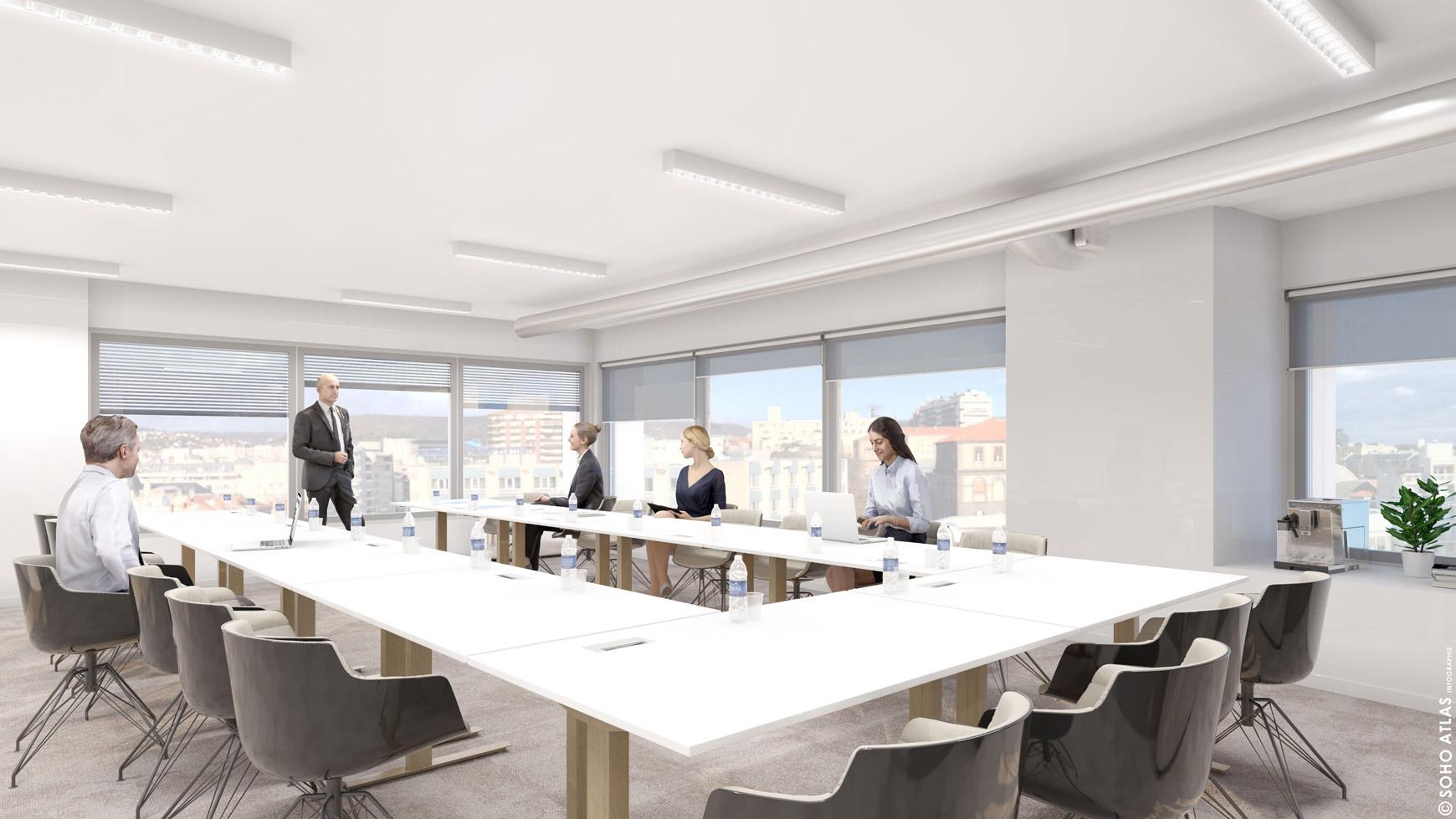 Réhabilitation lourde du siège sociale du Crédit Agricole Centre France à Clermont-Ferrand, labélisé BREEAM EXCELLENT, réalisé par le pôle Tertiaire de l'agence d'architecture SOHO ATLAS IN FINE LYON. Perspective, vue intérieure d'une salle de réunion.