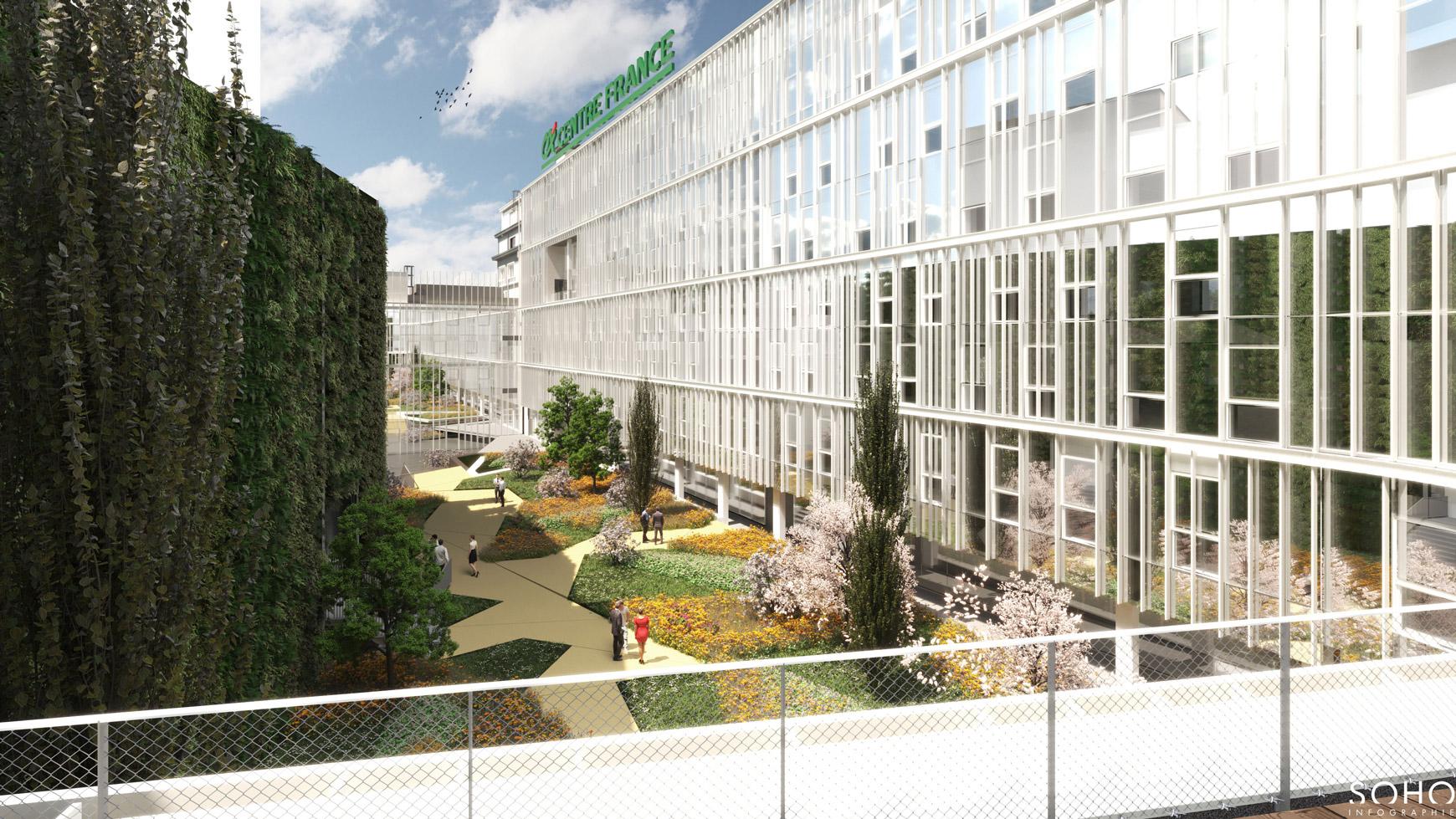 Réhabilitation lourde du siège sociale du Crédit Agricole Centre France à Clermont-Ferrand, labélisé BREEAM EXCELLENT, réalisé par le pôle Tertiaire de l'agence d'architecture SOHO ATLAS IN FINE LYON. Perspective, autre vue sur la cour intérieure.
