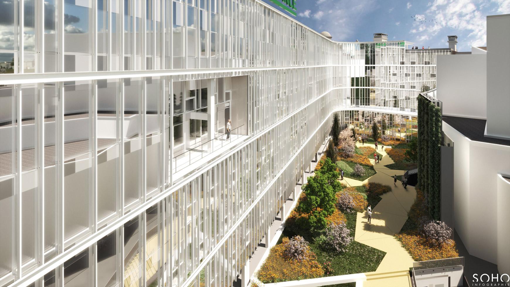 Réhabilitation lourde du siège sociale du Crédit Agricole Centre France à Clermont-Ferrand, labélisé BREEAM EXCELLENT, réalisé par le pôle Tertiaire de l'agence d'architecture SOHO ATLAS IN FINE LYON. Perspective, vue sur la cour intérieure.