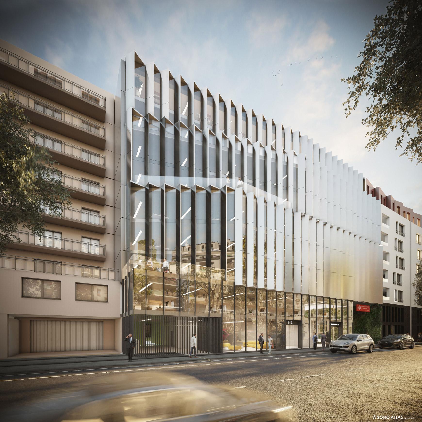 Bâtiment de bureaux à Issy-les-Moulineaux, avec réhabilitation et surélévation, réalisé par le pôle Tertiaire de l'agence d'architecture SOHO ATLAS IN FINE PARIS. Perspective, vue depuis la rue.