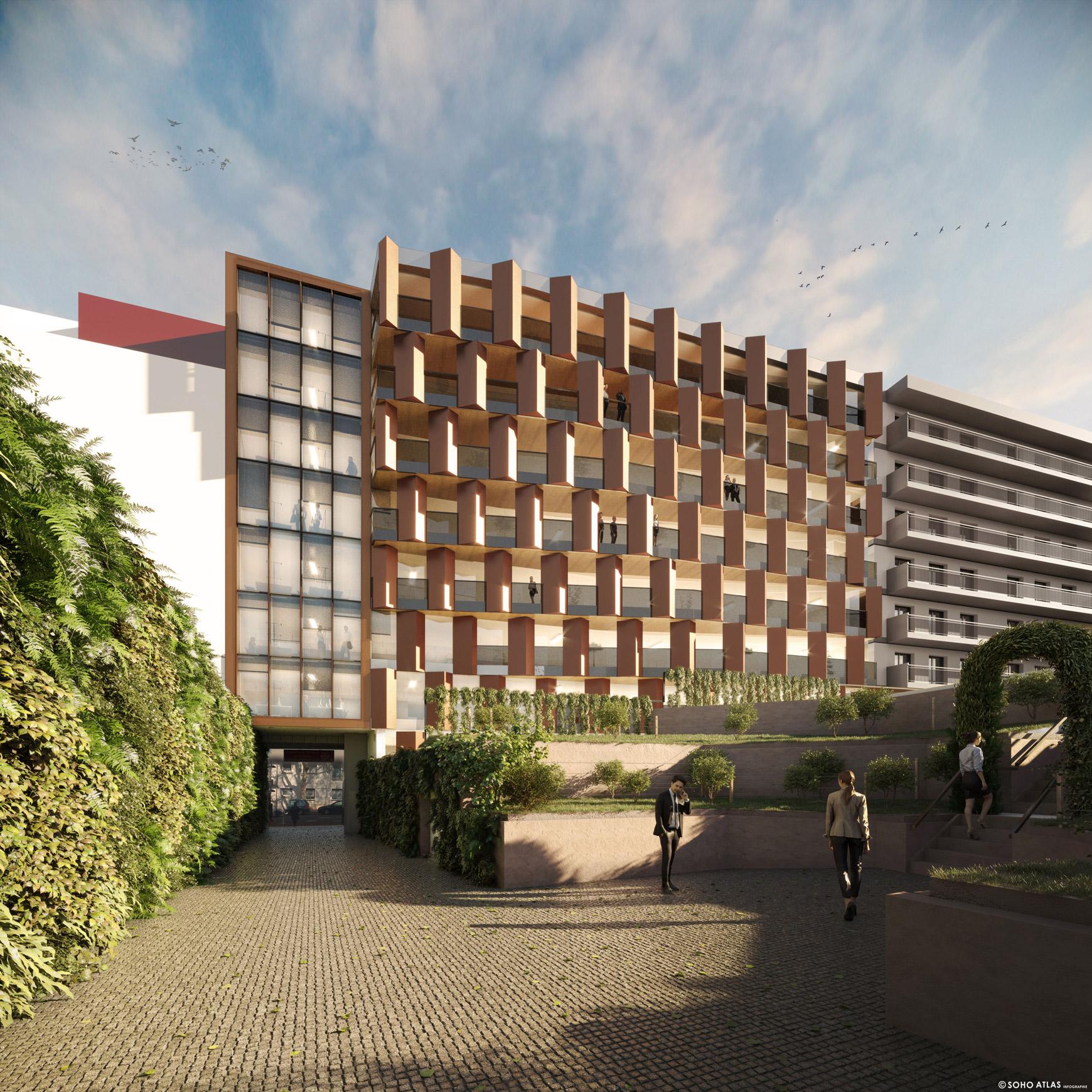 Bâtiment de bureaux à Issy-les-Moulineaux, avec réhabilitation et surélévation, réalisé par le pôle Tertiaire de l'agence d'architecture SOHO ATLAS IN FINE PARIS. Perspective, vue depuis la cour.
