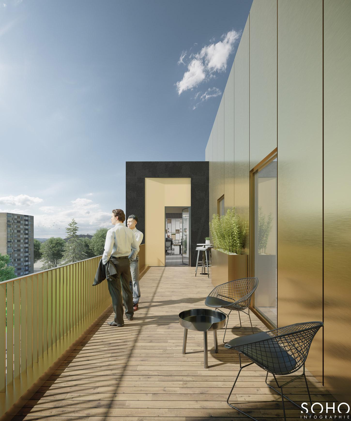 Ensemble immobilier de bureaux et d'activité à Macon, réalisé par le pôle Tertiaire de l'agence d'architecture SOHO ATLAS IN FINE LYON.  Perspective, vue depuis le balcon du 4e étage.