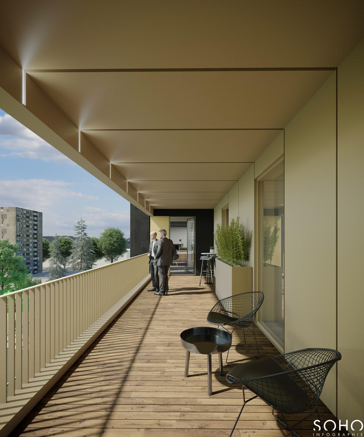 Ensemble immobilier de bureaux et d'activité à Macon, réalisé par le pôle Tertiaire de l'agence d'architecture SOHO ATLAS IN FINE LYON. Perspective, vue depuis un balcon.