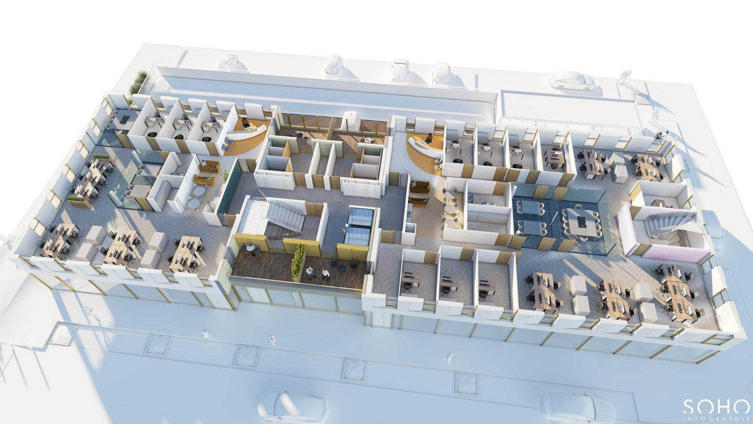 Ensemble immobilier de bureaux et d'activité à Macon, réalisé par le pôle Tertiaire de l'agence d'architecture SOHO ATLAS IN FINE LYON. Coupe isométrique.