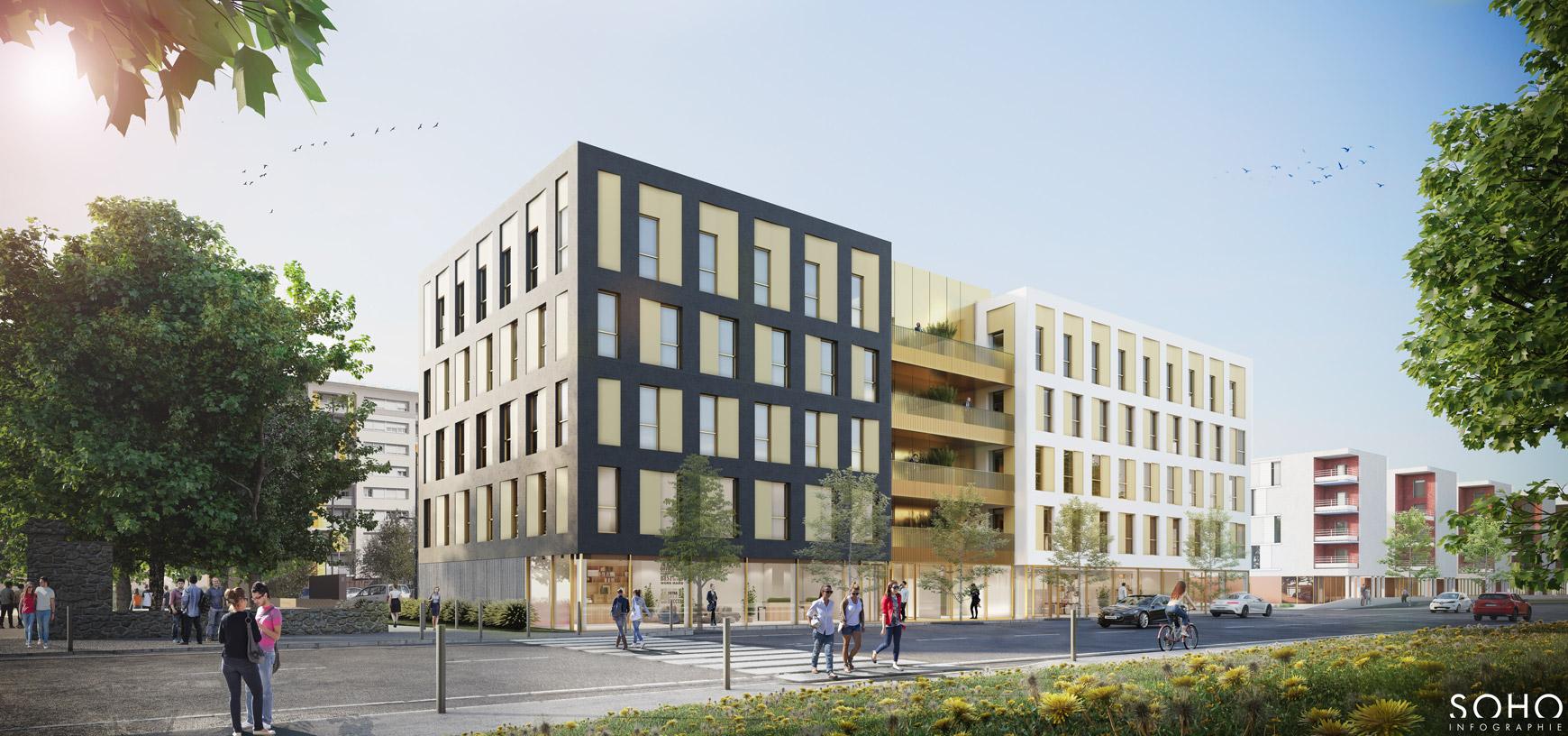 Ensemble immobilier de bureaux et d'activité à Macon, réalisé par le pôle Tertiaire de l'agence d'architecture SOHO ATLAS IN FINE LYON. Perspective, vue depuis la rue.