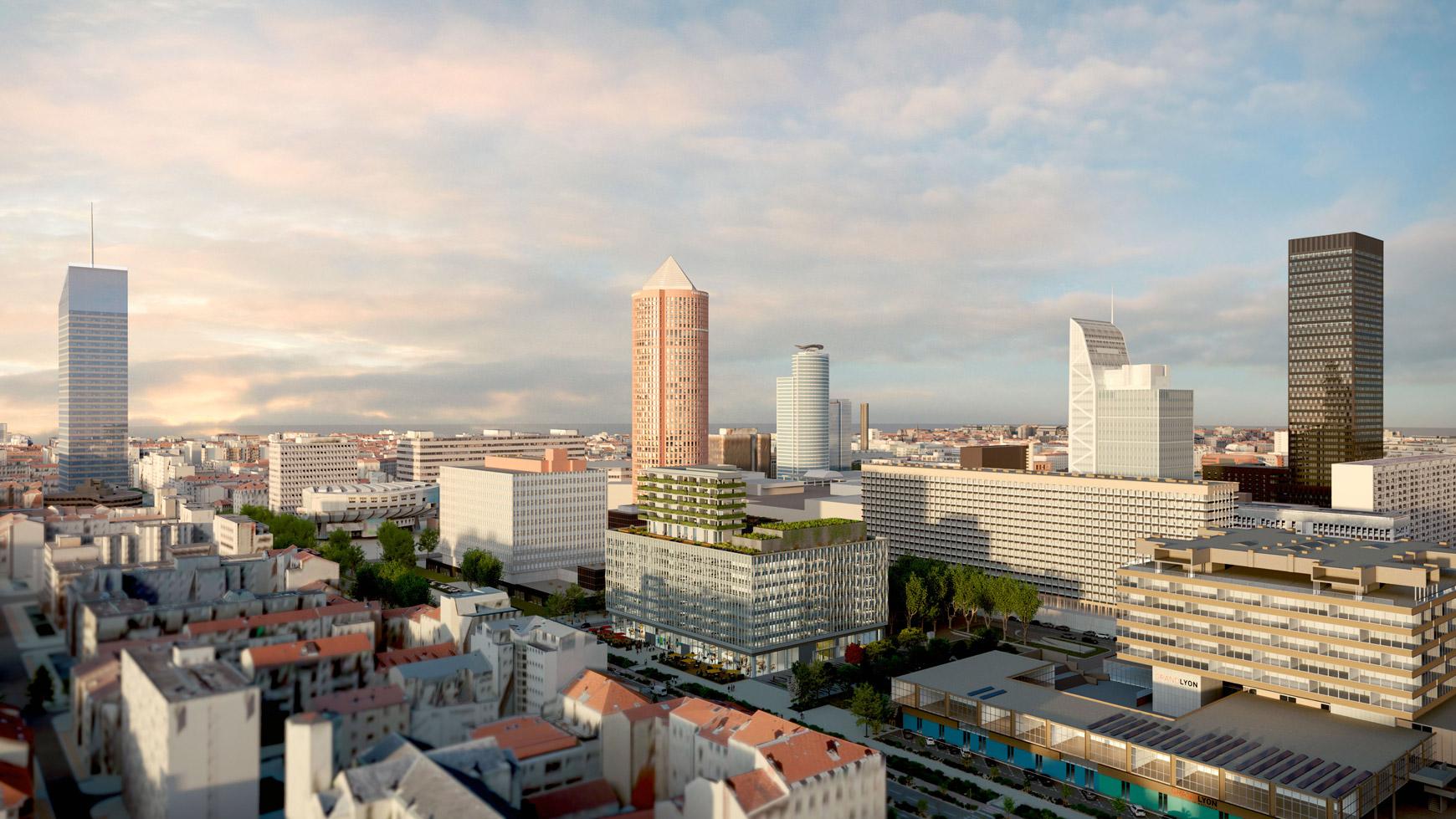 Bâtiment de bureaux, de logements et de commerces à Lyon Part-Dieu, certifié BREEAM EXCELLENT + NF HABITAT HQE + HQE BATIMENT, réalisé par le pôle Tertiaire de l'agence d'architecture SOHO ATLAS IN FINE LYON. Perspective, vue éloignée aérienne.