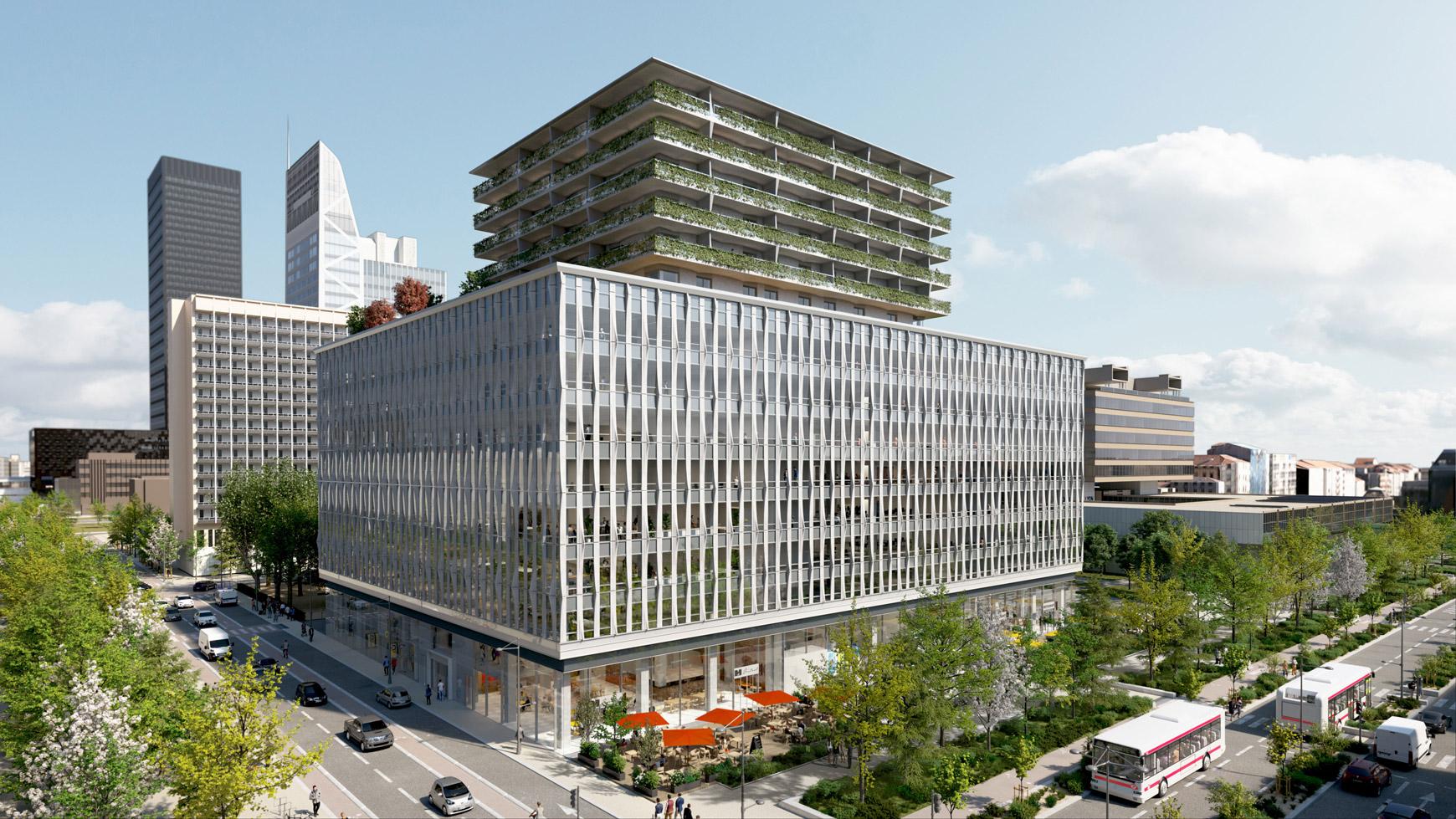 Bâtiment de bureaux, de logements et de commerces à Lyon Part-Dieu, certifié BREEAM EXCELLENT + NF HABITAT HQE + HQE BATIMENT, réalisé par le pôle Tertiaire de l'agence d'architecture SOHO ATLAS IN FINE LYON. Perspective, vue surélevée.