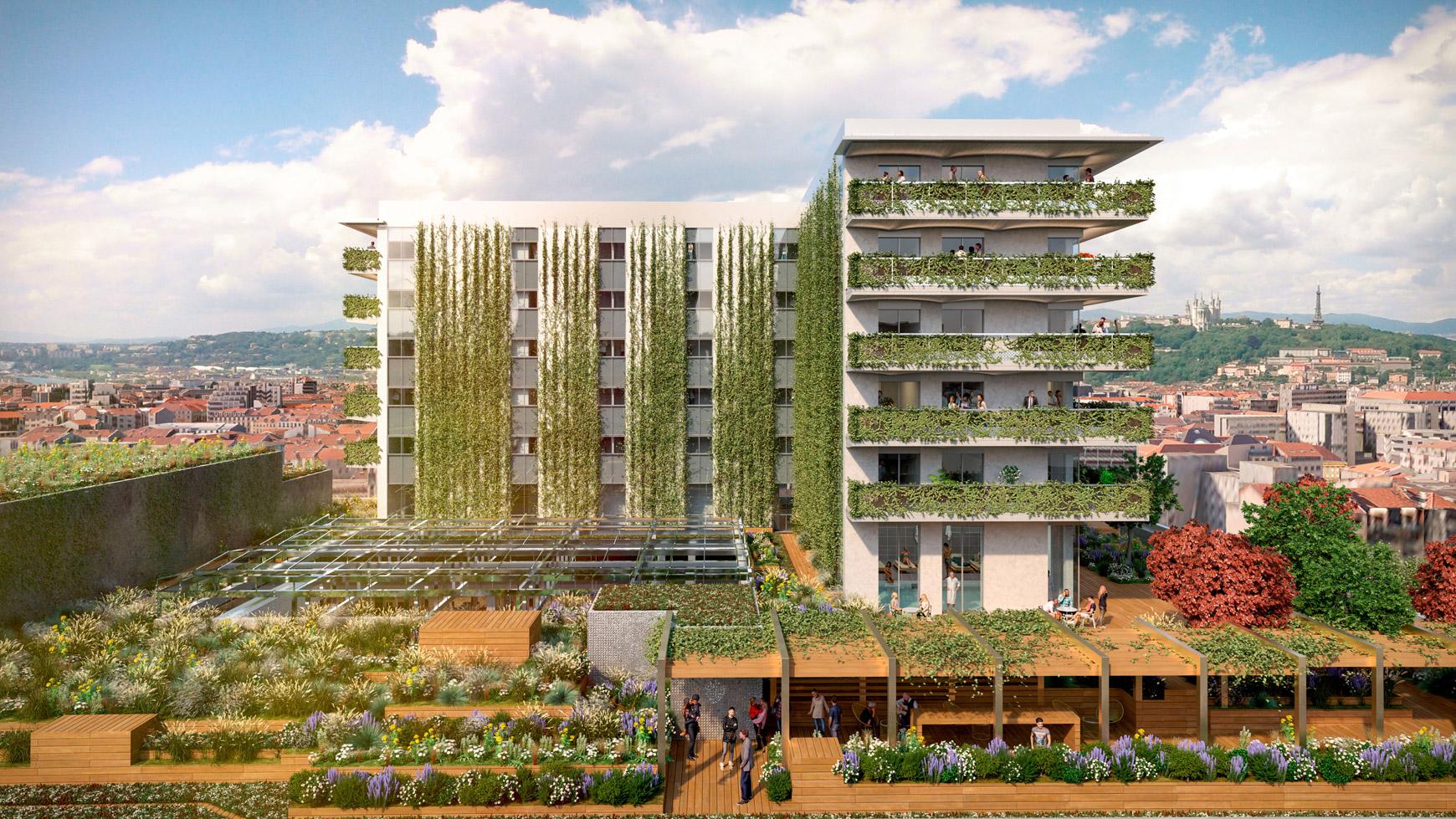 Bâtiment de bureaux, de logements et de commerces à Lyon Part-Dieu, certifié BREEAM EXCELLENT + NF HABITAT HQE + HQE BATIMENT, réalisé par le pôle Tertiaire de l'agence d'architecture SOHO ATLAS IN FINE LYON. Perspective, vue sur les logements.