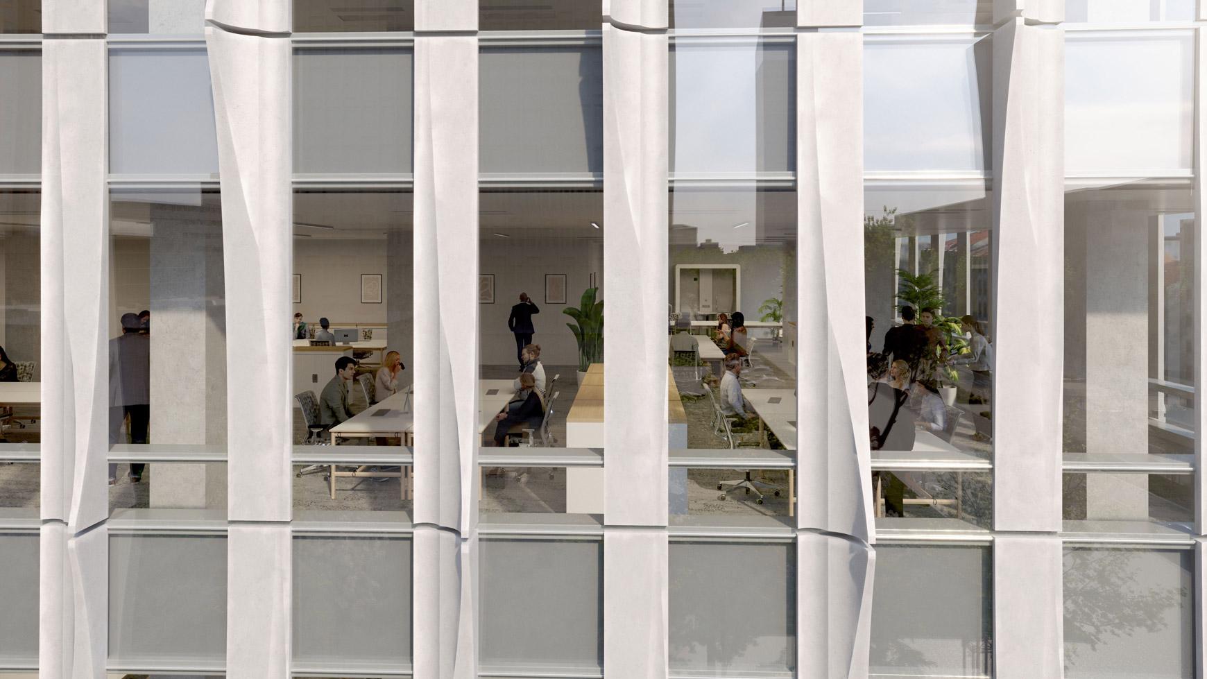 Bâtiment de bureaux, de logements et de commerces à Lyon Part-Dieu, certifié BREEAM EXCELLENT + NF HABITAT HQE + HQE BATIMENT, réalisé par le pôle Tertiaire de l'agence d'architecture SOHO ATLAS IN FINE LYON. Perspective, zoom sur façades.