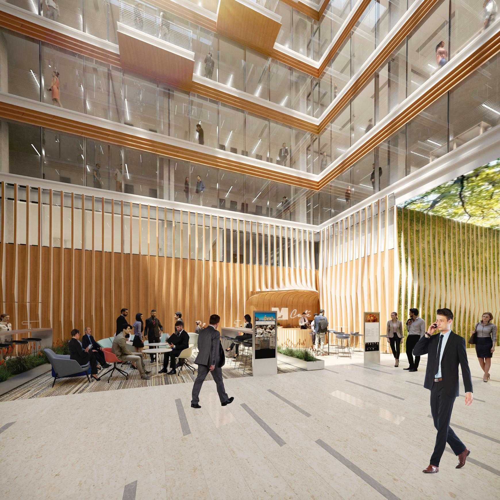 Bâtiment de bureaux, de logements et de commerces à Lyon Part-Dieu, certifié BREEAM EXCELLENT + NF HABITAT HQE + HQE BATIMENT, réalisé par le pôle Tertiaire de l'agence d'architecture SOHO ATLAS IN FINE LYON. Perspective, vue intérieure.