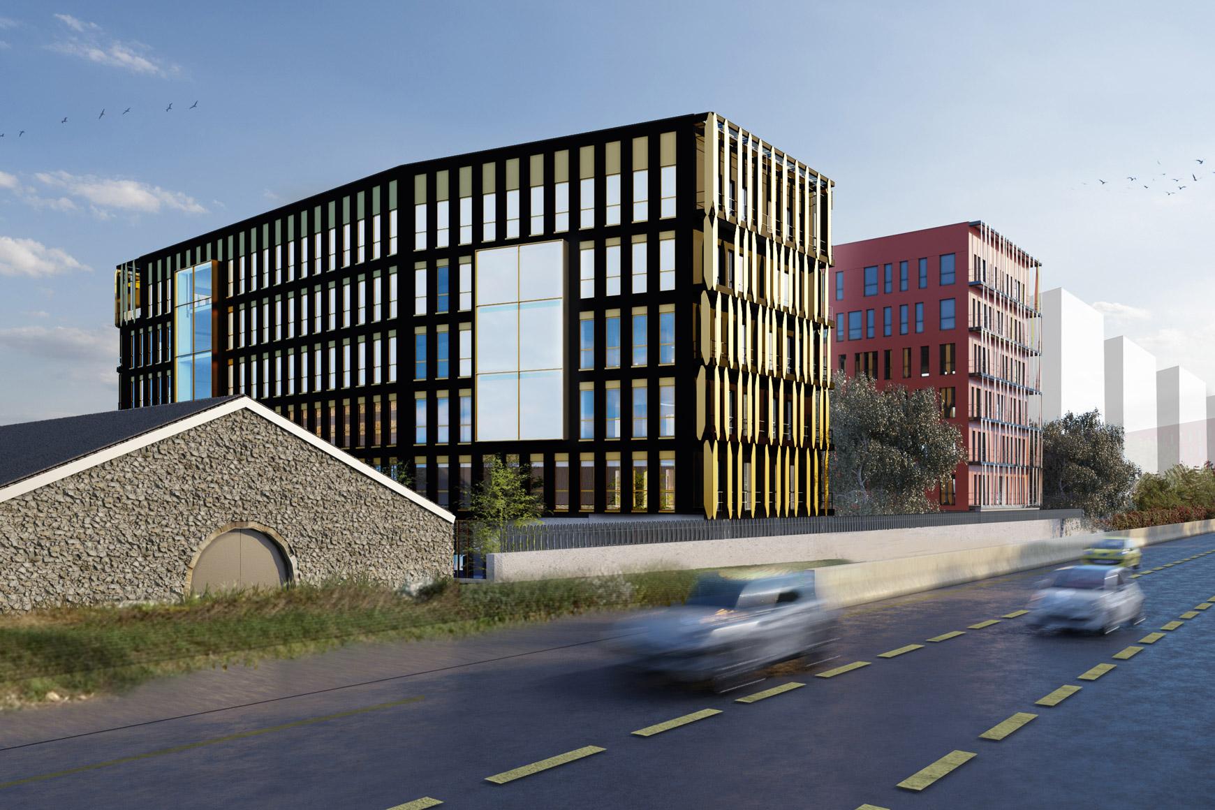 Bâtiment de bureaux à Grenoble au sein de la ZAC Bouchayer Viallet, labélisé BREEAM VERY GOOD, réalisé par le pôle Tertiaire de l'agence d'architecture SOHO ATLAS IN FINE LYON. Perspective, vue depuis la rue.