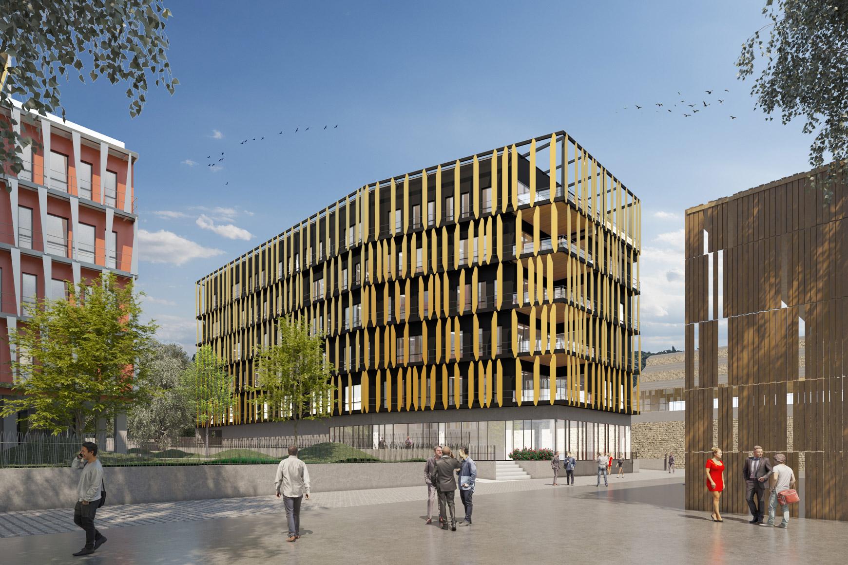 Bâtiment de bureaux à Grenoble au sein de la ZAC Bouchayer Viallet, labélisé BREEAM VERY GOOD, réalisé par le pôle Tertiaire de l'agence d'architecture SOHO ATLAS IN FINE LYON. Perspective, vue depuis la place.