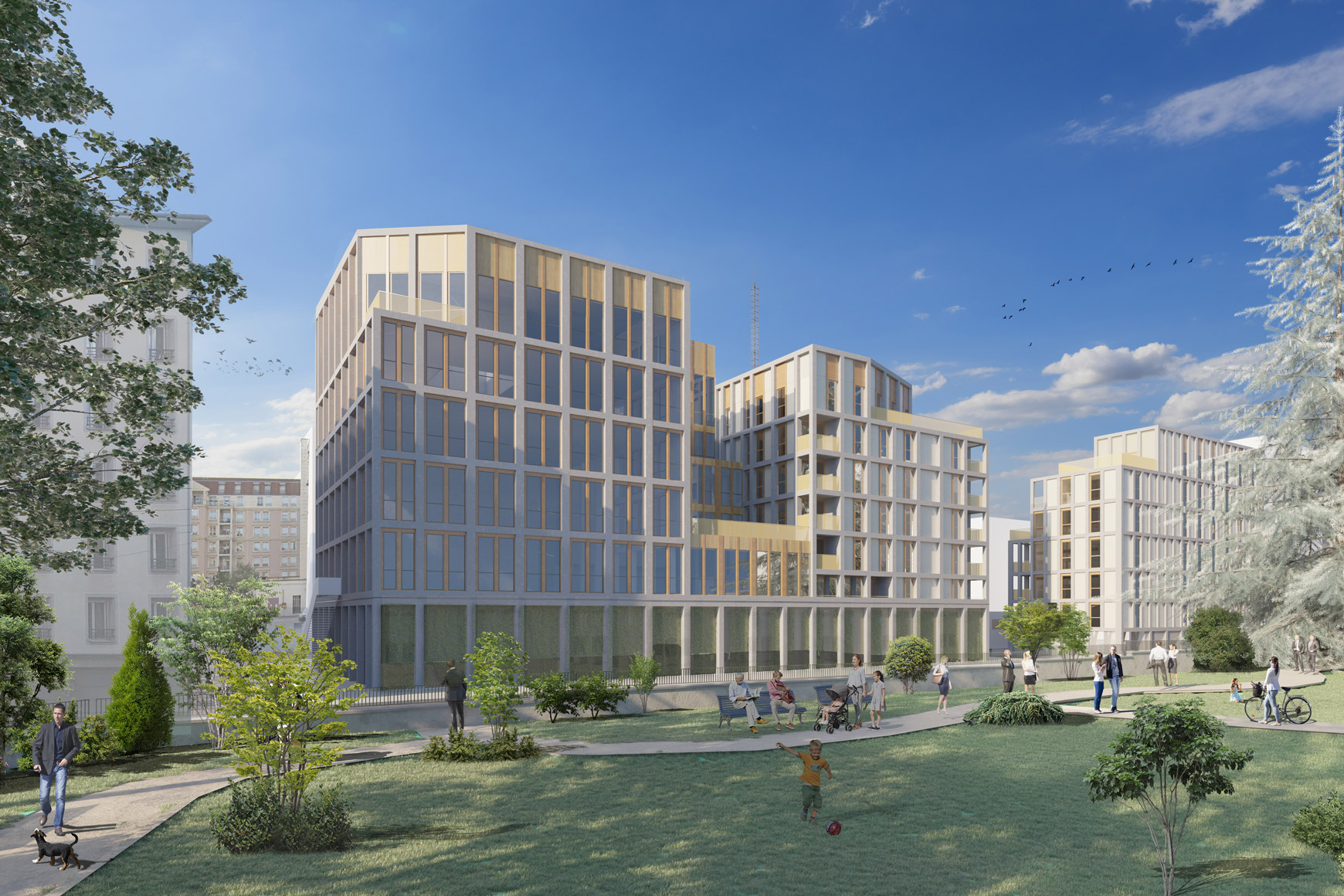Immeuble de bureaux et de logements à Lyon, réalisé par les pôles Tertiaire et Logement de l'agence d'architecture SOHO ATLAS IN FINE LYON. Perspective, vue depuis le jardin.
