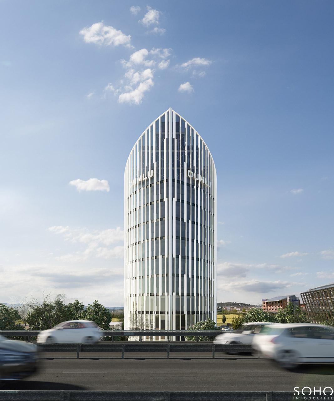 Immeuble de bureaux à Jonage, réalisé par le pôle Tertiaire de l'agence d'architecture SOHO ATLAS IN FINE LYON. Perspective, vue est depuis la rue.