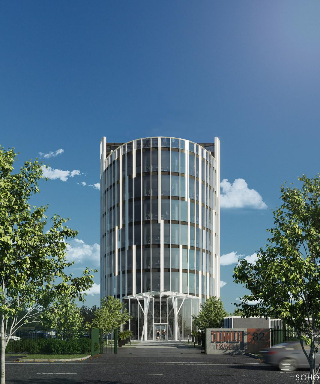 Immeuble de bureaux à Jonage, réalisé par le pôle Tertiaire de l'agence d'architecture SOHO ATLAS IN FINE LYON. Perspective, vue ouest depuis la rue.