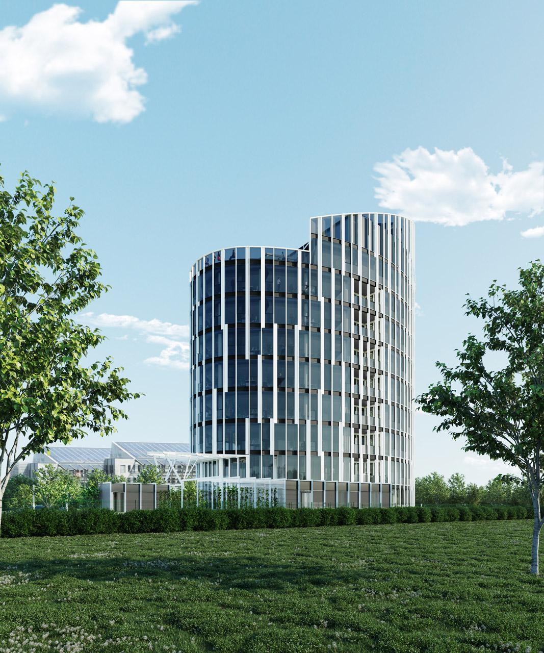 Immeuble de bureaux à Jonage, réalisé par le pôle Tertiaire de l'agence d'architecture SOHO ATLAS IN FINE LYON. Perspective, vue sud depuis la rue.