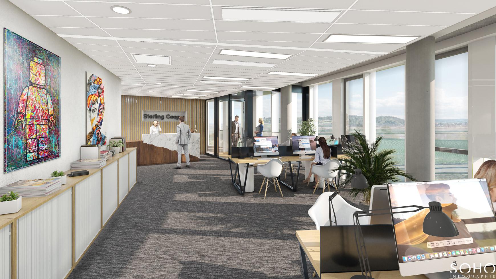 Immeuble de bureaux à Jonage, réalisé par le pôle Tertiaire de l'agence d'architecture SOHO ATLAS IN FINE LYON. Perspective, vue intérieure d'un espace de bureaux.