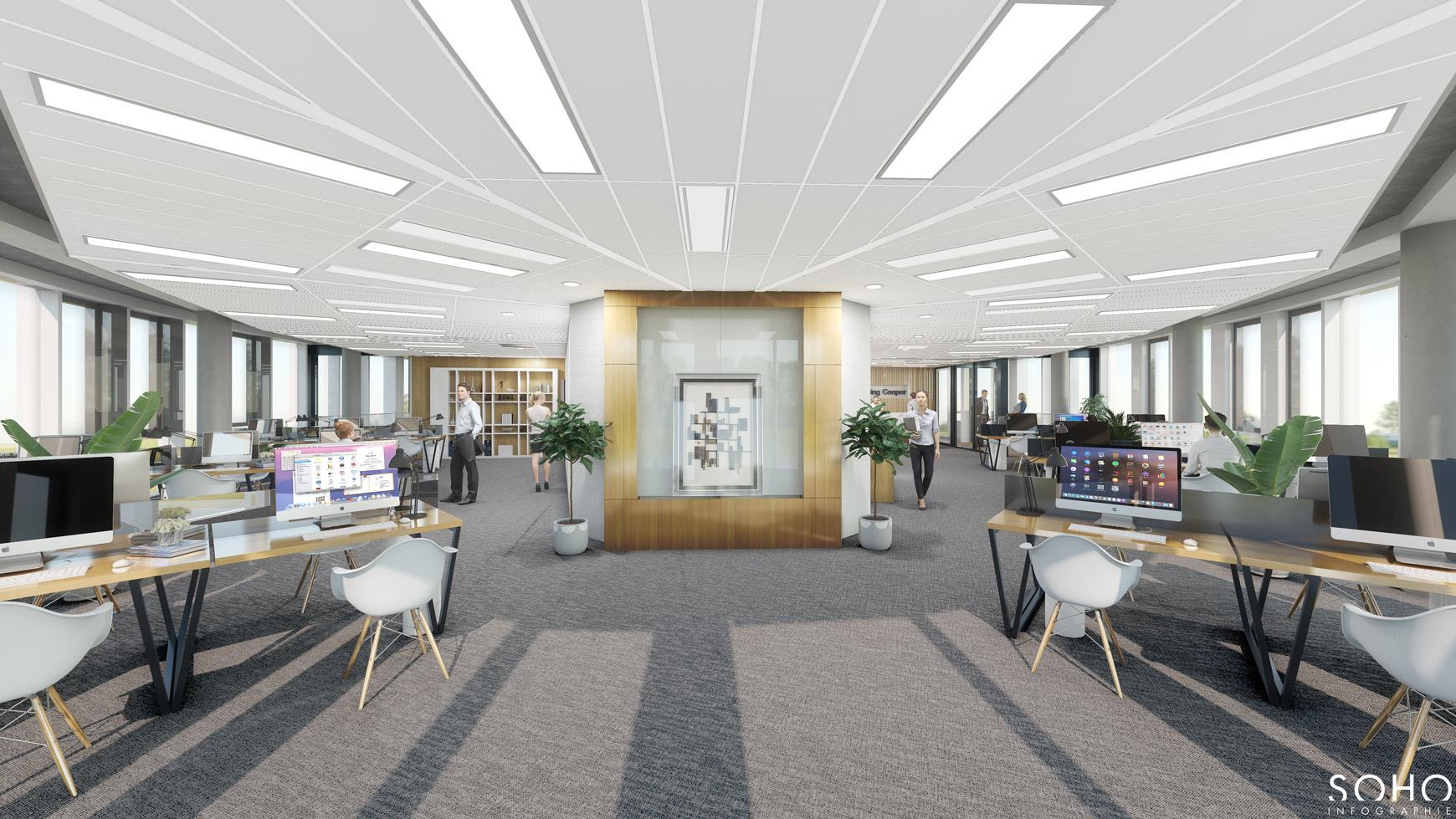 Immeuble de bureaux à Jonage, réalisé par le pôle Tertiaire de l'agence d'architecture SOHO ATLAS IN FINE LYON. Perspective, vue intérieure sur un plateau de bureaux.